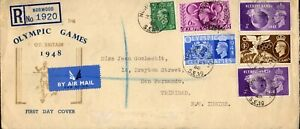 1948 Sg 495/8 London Olympic Games Souvenir First Day CoverRegistered Air Mail