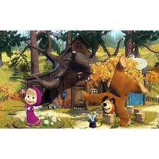 7x5ft Vinyl Cartoon Masha Bear Forest House Photo Studio Backdrop Background