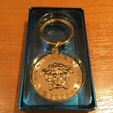 100% GENUINE VERSACE EROS GOLD LUXURY KEYCHAIN MEDUSA HEAD MADE IN ITALY RARE!!