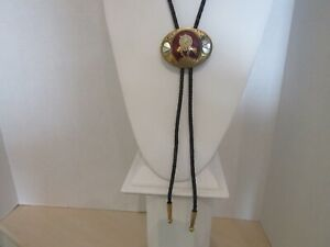 Vtg Johnson and Held 'End of the Trail' Bolo Tie Handcrafted MOP Enamel Inlay