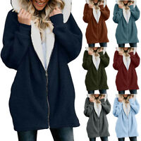 Womens Solid Oversized Zip Down Hooded Fluffy Coat Cardigans Outwear Pocket 9