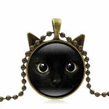 Vintage Bronze Cat Glass Cabochon on Long Necklace with Cat Face Pendant