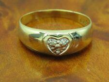 14kt 585 Gelbgold Ring mit Diamant Besatz / Herz / 1,5g / RG 56,5