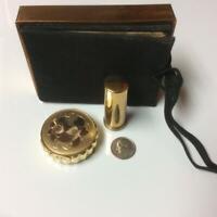 Vintage Petite Two Tone Powder Compact & Lipstick Tube in Original Purse Holder