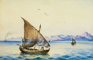 Gabriele Carelli (Italy,UK,1820-1900) watercolor painting antique