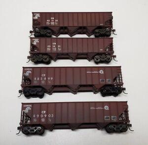 Lot of Four (4) HO Scale Coal Hoppers Conrail