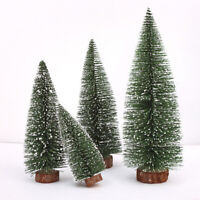 Mini Christmas Tree Small Pine Tree W/ Wooden Bases for Xmas Home Tabletop Decor