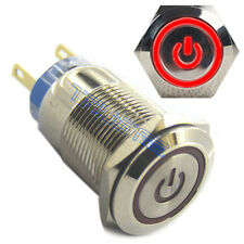 19mm ON/OFF RED Power Switch  LED 12V Push Button Metal Switch For Car