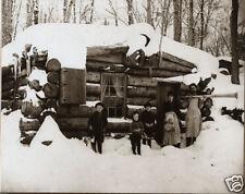 Michigan Logging Camp Cook Shack Dinner Horn Log Cabin Buried in Snow Lumberjack