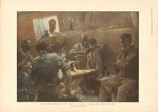 1899  ANTIQUE PRINT- THE NEW MEMBER OF THE MESS, FULL COLOUR, BRANGWYN