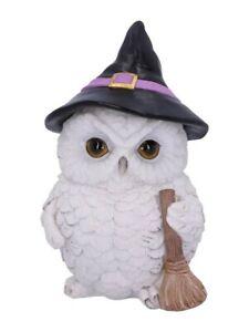 Nemesis Ornament Snowy Magic Witch Owl Familiar White 15x22cm