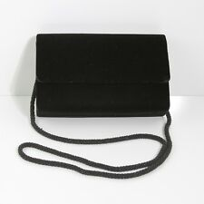 PRETTY INDEED BLACK VELVET BAGUETTE EVENING CLUTCH WITH BEADED STRAP