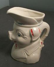"""Vintage Pottery Pig Pitcher W/ Spout & Handle - 5"""" T - Blue & Red - - sb"""