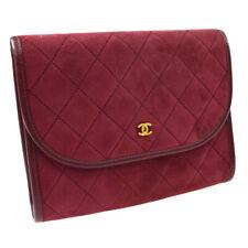 CHANEL Quilted CC Clutch Hand Bag Pouch Purse Bordeaux Suede Authentic AK46046