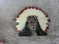 """VINTAGE PAINTED Brass Belt Buckle Indian Chief Head in Feather HEADDRESS 4"""""""