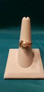 Goldtone Pearl & CZ Ring - Size 7