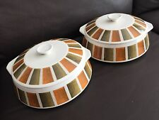 """Pair of Vintage (1960s) English Lord Nelson Pottery Pattern """"Bermuda"""" Tureens."""