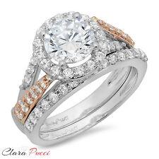 2.25 CT Round Cut Halo Wedding Engagement Ring band set 14k Yellow/White Gold