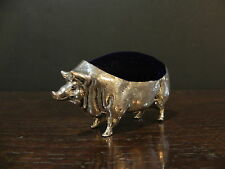 Novelty Silver plated pig pin cushion with blue velvet pad.