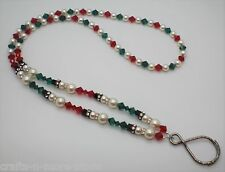 Light Siam / Emerald White Pearl Snowman Lanyard Badge, Keys, Eyeglass Holder