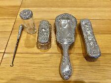 Vintage Solid Sterling Silver Dressing Table Set - 5 pieces - Hallmark