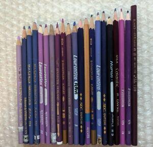 21 Colored Pencil Crayon Prismacolor Stabilo Empire Pedigree Purple Grab Bag Lot