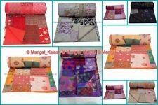 Bedspread Indian Stitched Cotton Blanket Kantha Khambadiya Bedding Art Quilt