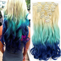 "Full Head Clip In Hair Extensions Ombre Dip Dye 22"" Synthetic like Human 7 piece"