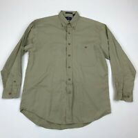 Bill Blass Men Khaki  Button Down Long Sleeve Shirt sz M