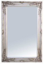 Large Ornate Antique Silver Wall Mirror 60cm x 90cm With Ornate Detail on Frame