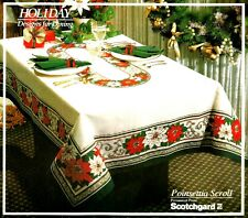 "Poinsettia Scroll Christmas Tablecloth 70"" Round White Red Green Scotchgard"