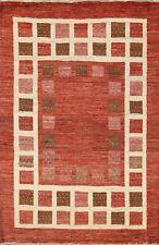 5x6 Geometric Modern Gabbeh Kashkoli Oriental Area Rug Hand-knotted Foyer Carpet