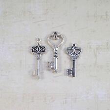 Old look new antique vintage skeleton keys 12 silver gold bronze craft steampunk