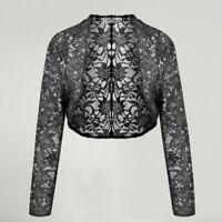 Bolero Shrug 3/4 Sleeve Floral Lace Open Stitch Knit Cardigan Casual Women Shawl