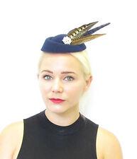 Navy Blue Brown White Pheasant Feather Pillbox Hat Fascinator Vtg Races 40s 569