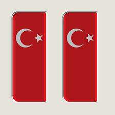 2x Turquie Drapeau complet-Plaque de gel en forme de dôme numéro badges / stickers 107x42mm