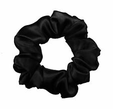 Black Satin Scrunchie Ponytail Holder Hair Accessories Made in the USA