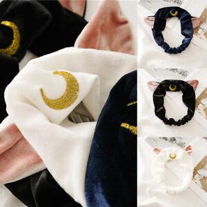 Cartoon Moon Cat Ears Soft Elastic Headband for Wash Face Makeup Yoga Hair Band