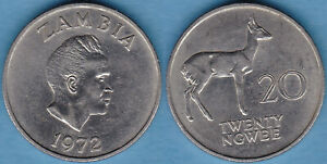 Zambia 1972 20 Ngwee KM-13 Copper-nickel XF #109  US Seller
