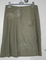 WHITE STUFF (UK12 / EU40) GREEN 100% COTTON FULLY-LINED EMBELLISHED SKIRT