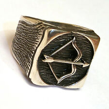 Bow and Arrow, Turkish 925 S. Silver No Stone Men's Ring Sz 11.5 #0931 fr.resize