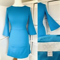 GOAT Bright Blue 100% Wool Fit & Flare Dress Size 6 Crepe Trumpet Sleeve