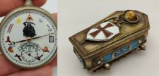 Antique Masonic Omega Pocket Desk Watch Memento Mori Skull Enamels