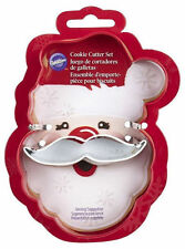 Santa Face with Mustache 2 pc Christmas Cookie Cutter Set from Wilton #3270 New