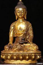 11'' bronze gild gold color carved buddhism tathagata Vairocana Sakyamuni buddha