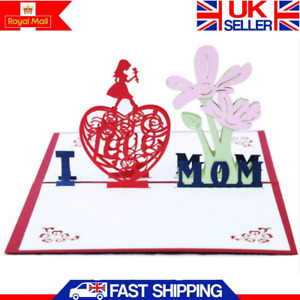 Mothers Day 3D Pop Up Card Greeting Birthday Cards Keepsake All Occasiones Gift