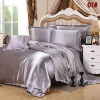 King Size 4PCS Luxury Satin Silk Queen Duvet Cover Bedroom Bed Bedding Set