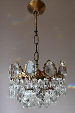 Colgante de Latón Antiguo-Araña De Cristal Francesa Antigua & Lámpara-década de 1950 Iluminación