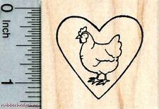 Hen in Heart Rubber Stamp, Chicken D31502 WM