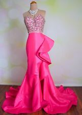 Mac Duggal Hot Pink Evening Formal Prom Pageant Wedding Ball Gown Dress 10